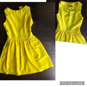 Size 0 Yellow Ted Baker bow back dress Pockets!